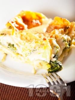 Постна зеленчукова лазаня от готови кори със спанак, броколи и бешамелов сос - снимка на рецептата